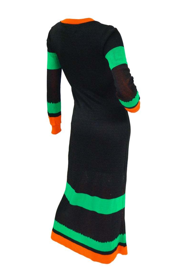 Important 1970s Sant Angelo Biplane Intarsia Knit Maxi Dress - Iconic For Sale 1