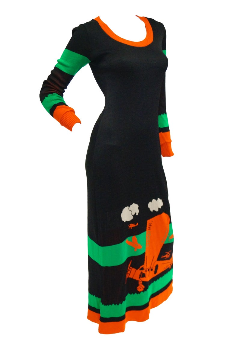 Important 1970s Sant Angelo Biplane Intarsia Knit Maxi Dress - Iconic For Sale 2