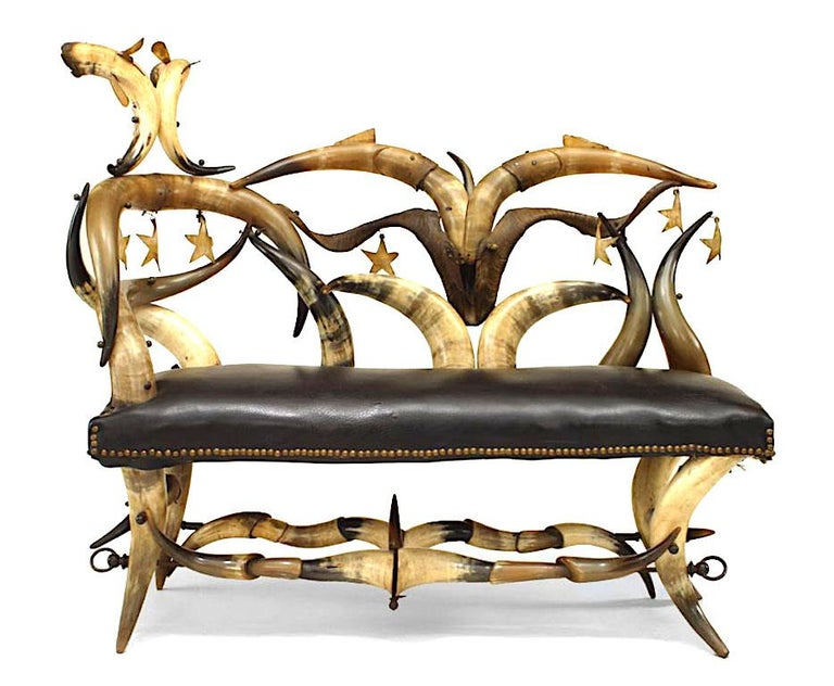 Rustic Important 19th C. American Steer Horn Chaise  For Sale