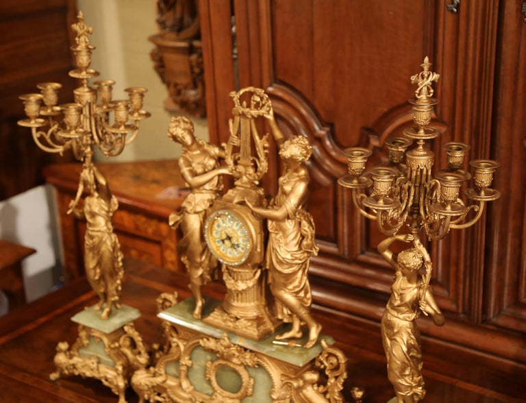 Important 19th Century French Gilt Metal and Onyx Clock Set Signed E Rancoulet 8