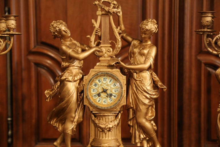 Important 19th Century French Gilt Metal and Onyx Clock Set Signed E Rancoulet 9
