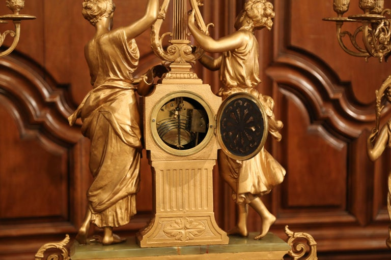 Important 19th Century French Gilt Metal and Onyx Clock Set Signed E Rancoulet 11