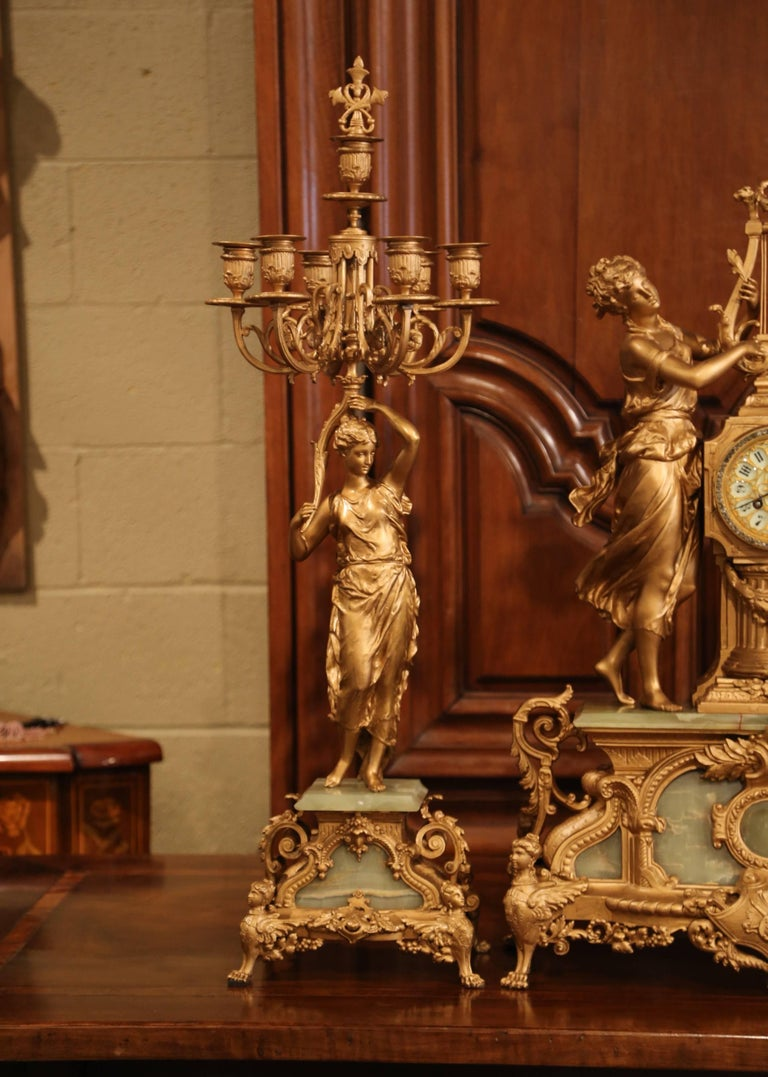 Important 19th Century French Gilt Metal and Onyx Clock Set Signed E Rancoulet In Excellent Condition In Dallas, TX