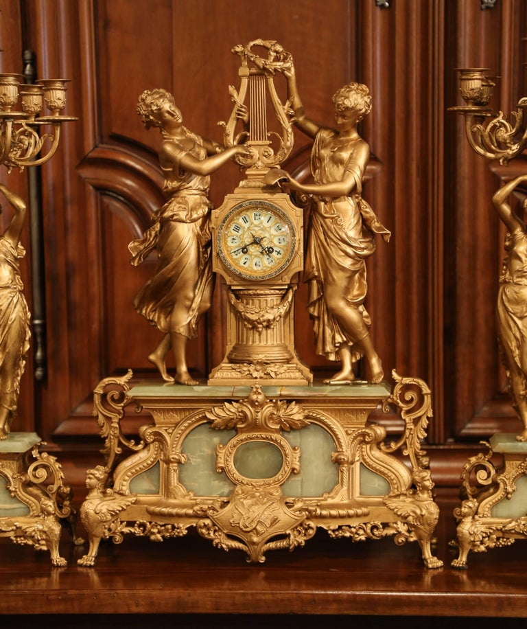 Brass Important 19th Century French Gilt Metal and Onyx Clock Set Signed E Rancoulet