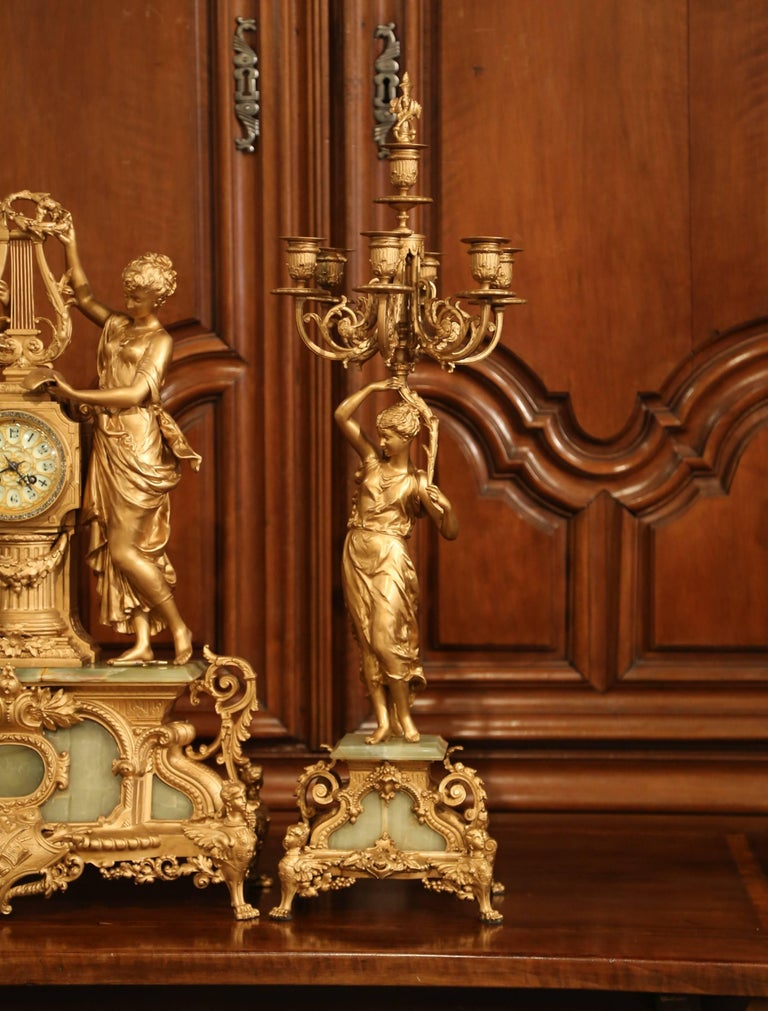 Important 19th Century French Gilt Metal and Onyx Clock Set Signed E Rancoulet 1