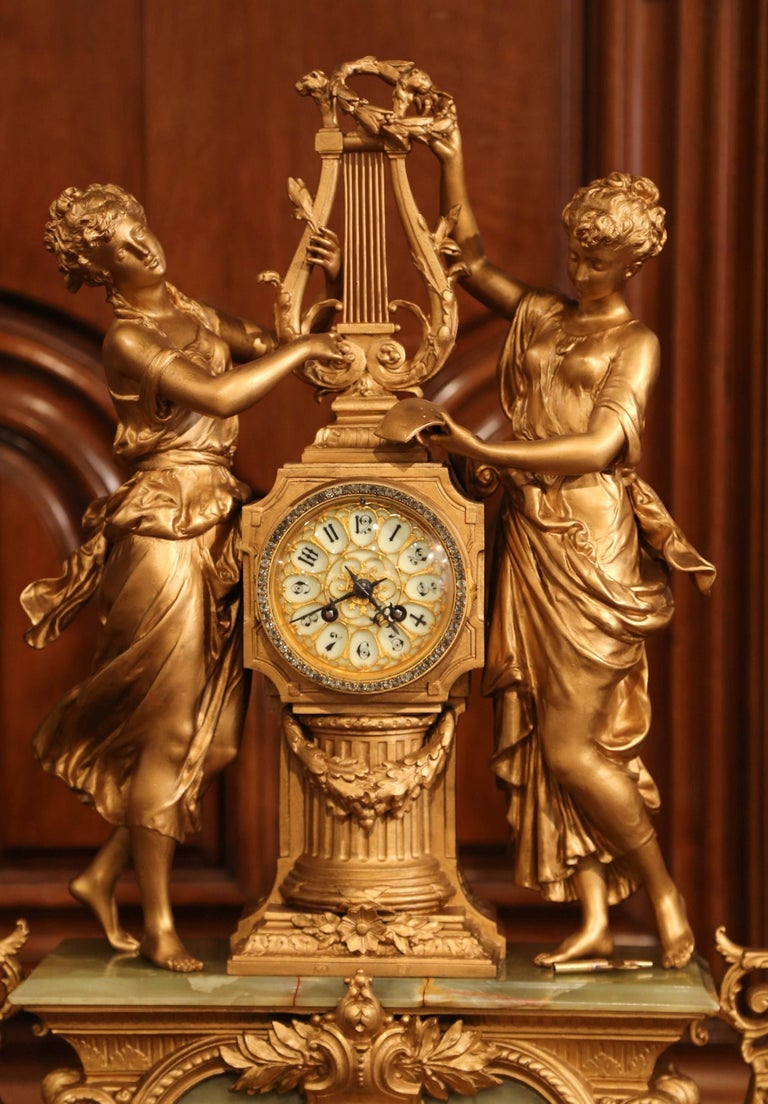 Important 19th Century French Gilt Metal and Onyx Clock Set Signed E Rancoulet 2