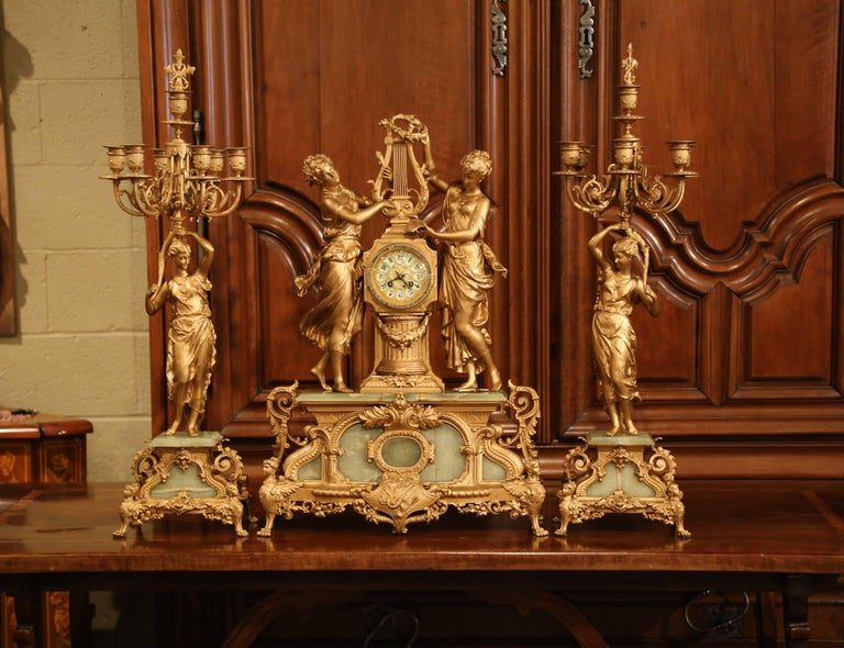 Important 19th Century French Gilt Metal and Onyx Clock Set Signed E Rancoulet 3