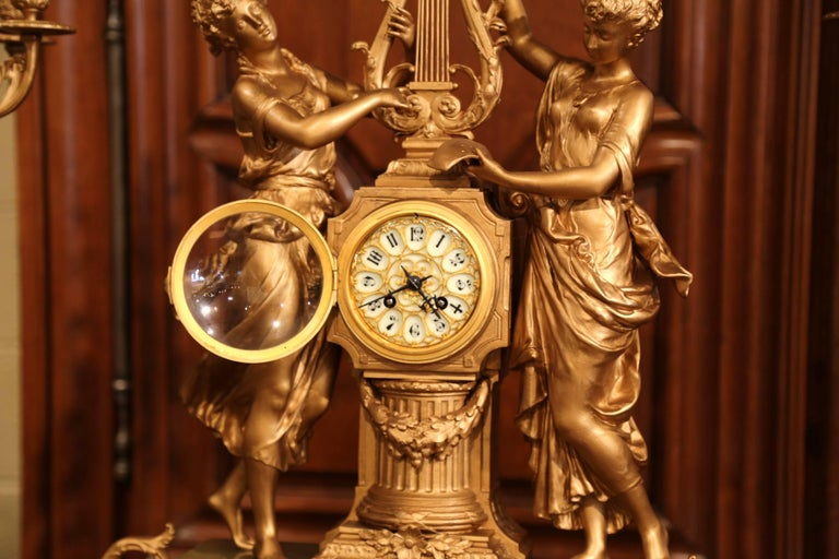 Important 19th Century French Gilt Metal and Onyx Clock Set Signed E Rancoulet 5