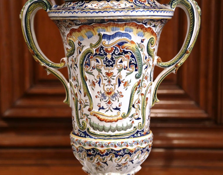 Louis XV 19th Century French Hand Painted Ceramic Vase with Lid from Normandy For Sale