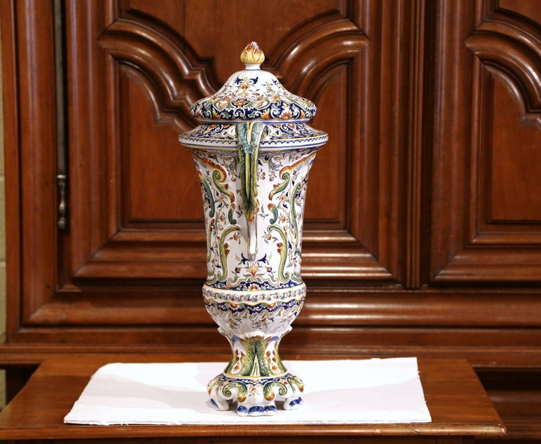 Hand-Painted 19th Century French Hand Painted Ceramic Vase with Lid from Normandy For Sale