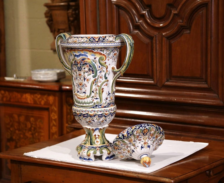 19th Century French Hand Painted Ceramic Vase with Lid from Normandy For Sale 1