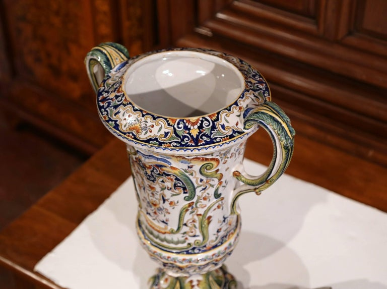 19th Century French Hand Painted Ceramic Vase with Lid from Normandy For Sale 2