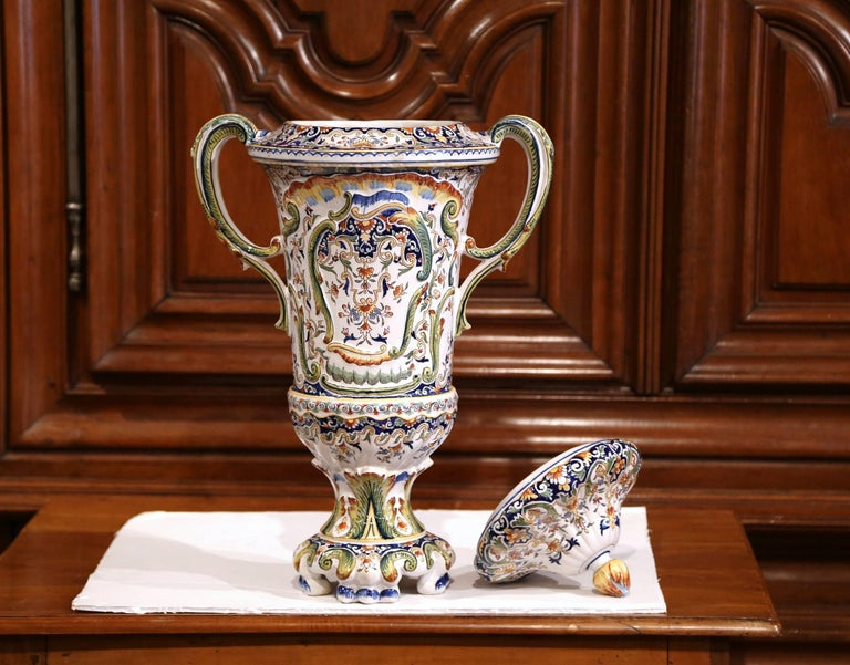 19th Century French Hand Painted Ceramic Vase with Lid from Normandy For Sale 3