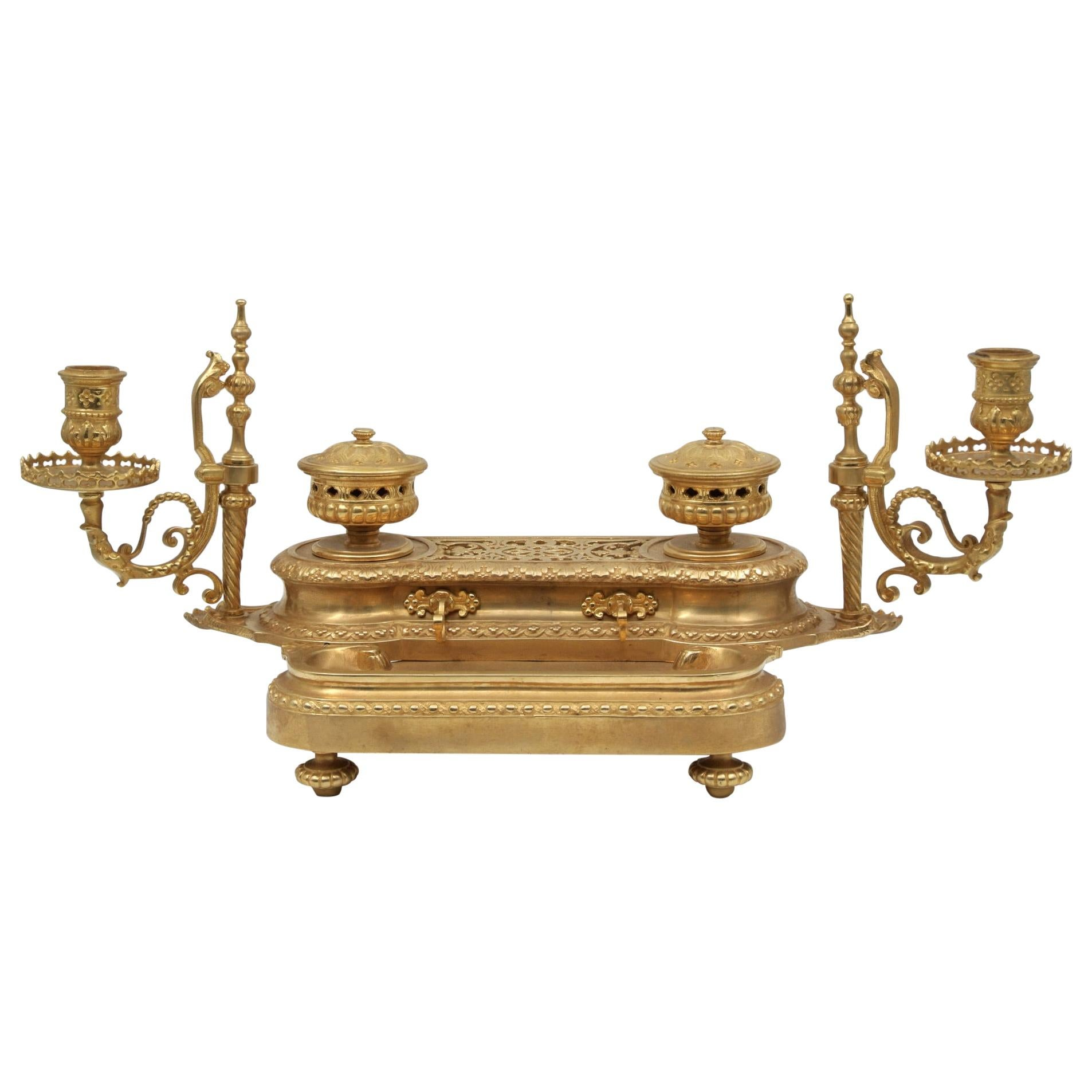 Important 19th Century Gilded Bronze Inkwell