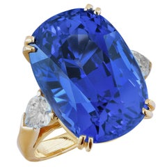 Important 24.15 Carat AGL No Heat Ceylon Color Change Sapphire Diamond Ring