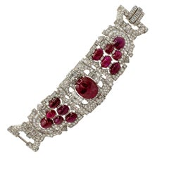 Important 60+ Carat Cabochon Rubies and 38.65 Carat Diamonds Platinum Bracelet