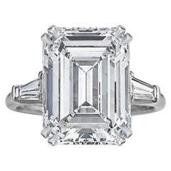 GIA Certified Important 4 Carat Emerald Cut Ring VVS1