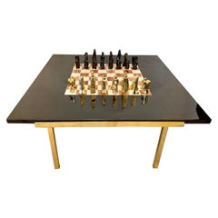 Important Abstract Bronze Chess Set on Belgian Marble and Brass Game Table