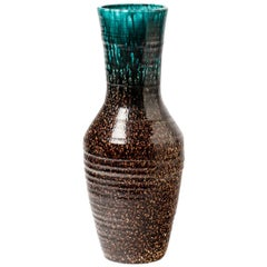 Important Accolay Mid-20th Century Ceramic Vase Blue and Black