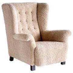 Important Acton Bjørn Wingback Chair in Sheepskin, A.J. Iversen, Denmark, 1937