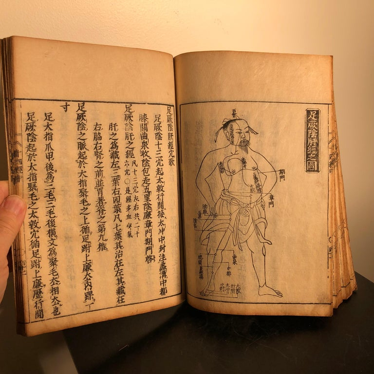 Important Acupuncture Japanese Antique Woodblock Guide Book, 19th Century Prints For Sale 4