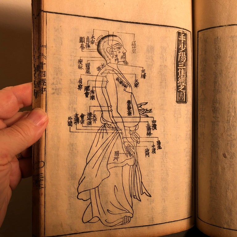 Important Acupuncture Japanese Antique Woodblock Guide Book, 19th Century Prints For Sale 5