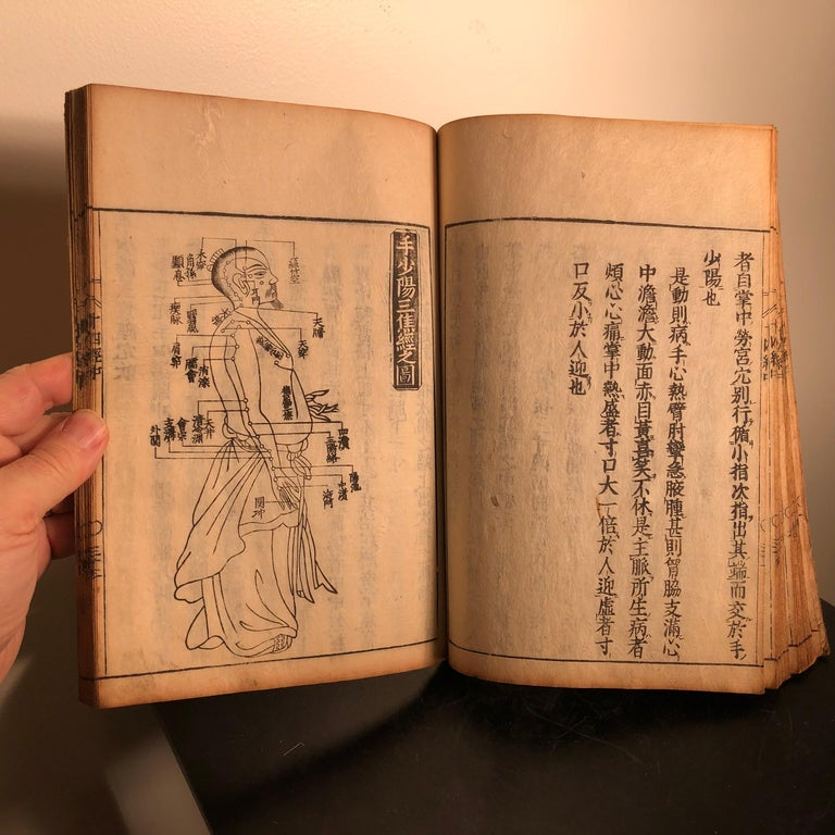 Important Acupuncture Japanese Antique Woodblock Guide Book, 19th Century Prints For Sale 6