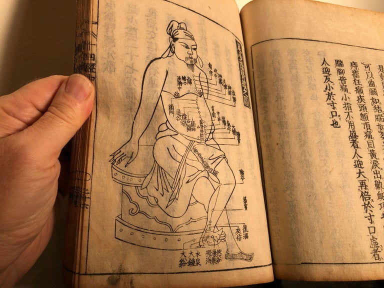 Important Acupuncture Japanese Antique Woodblock Guide Book, 19th Century Prints For Sale 7