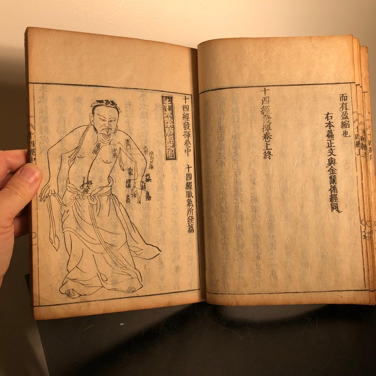 Important Acupuncture Japanese Antique Woodblock Guide Book, 19th Century Prints For Sale 9