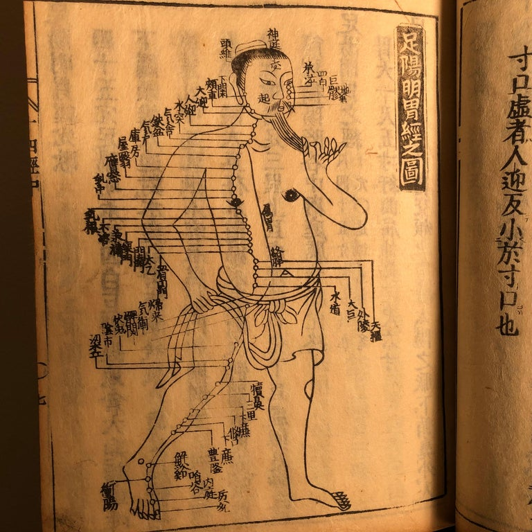 Hand-Crafted Important Acupuncture Japanese Antique Woodblock Guide Book, 19th Century Prints For Sale