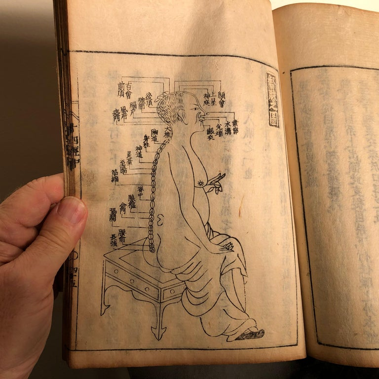 Important Acupuncture Japanese Antique Woodblock Guide Book, 19th Century Prints For Sale 2