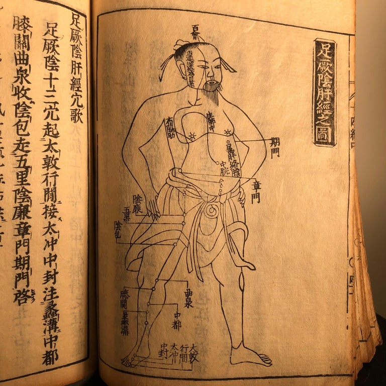 Important Acupuncture Japanese Antique Woodblock Guide Book, 19th Century Prints For Sale 3