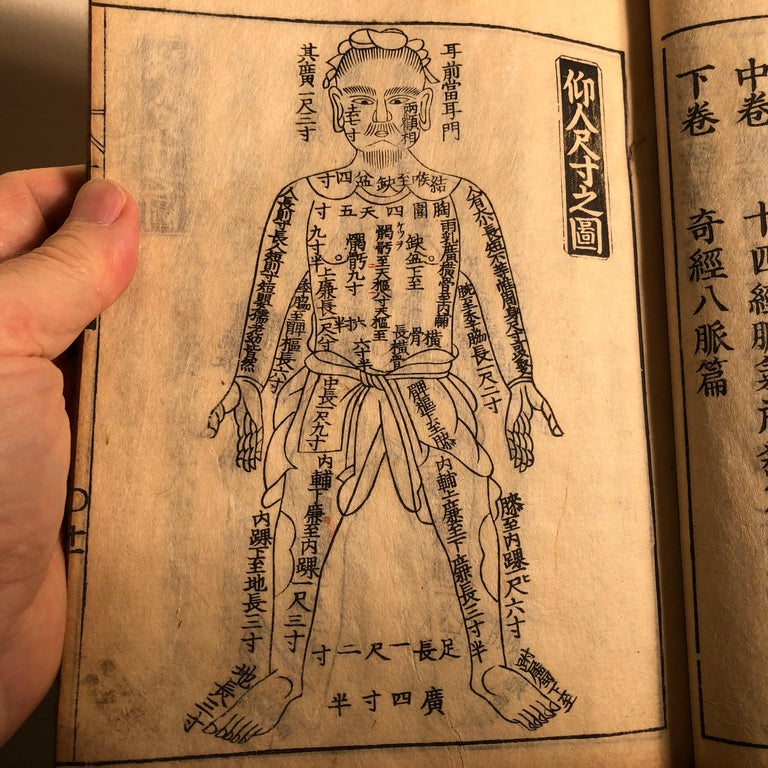 Important Japanese complete antique signed and well illustrated woodblock print book entitled: Chinese Acupuncture and 