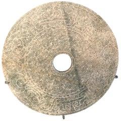 Important Ancient China Jade Bi Disc, Han Dynasty 206 BC-220 AD