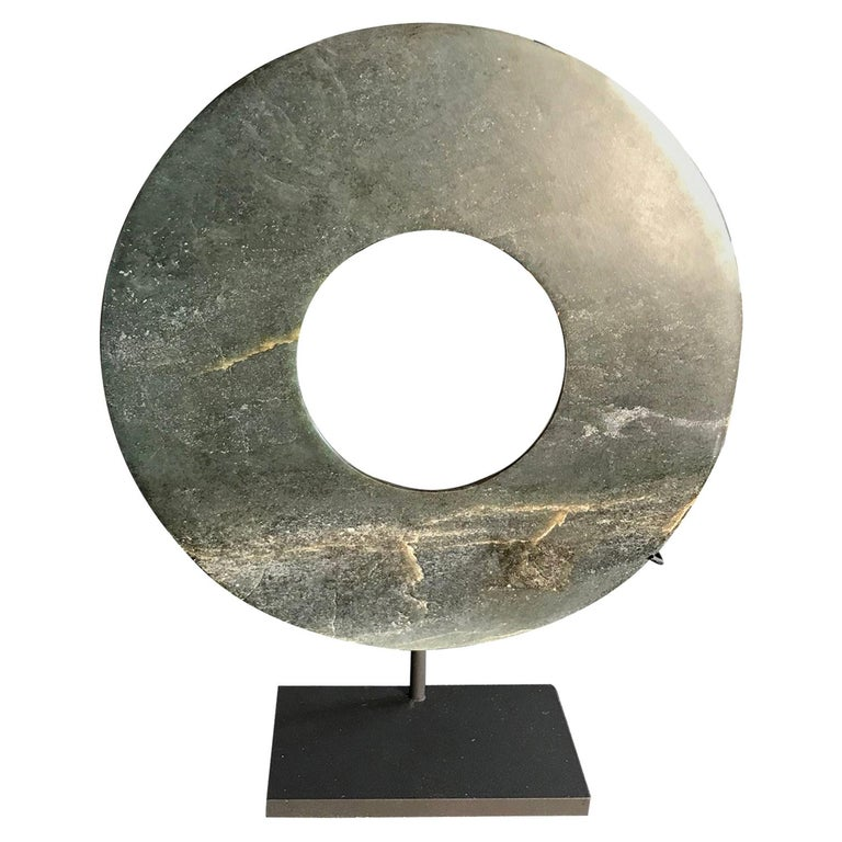 Important Ancient Chinese Heavenly Jade Bi Disc with Rich Green Color For Sale