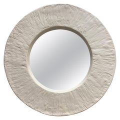 Important and Impressive French Plaster Round Mirror, Three '3' Available