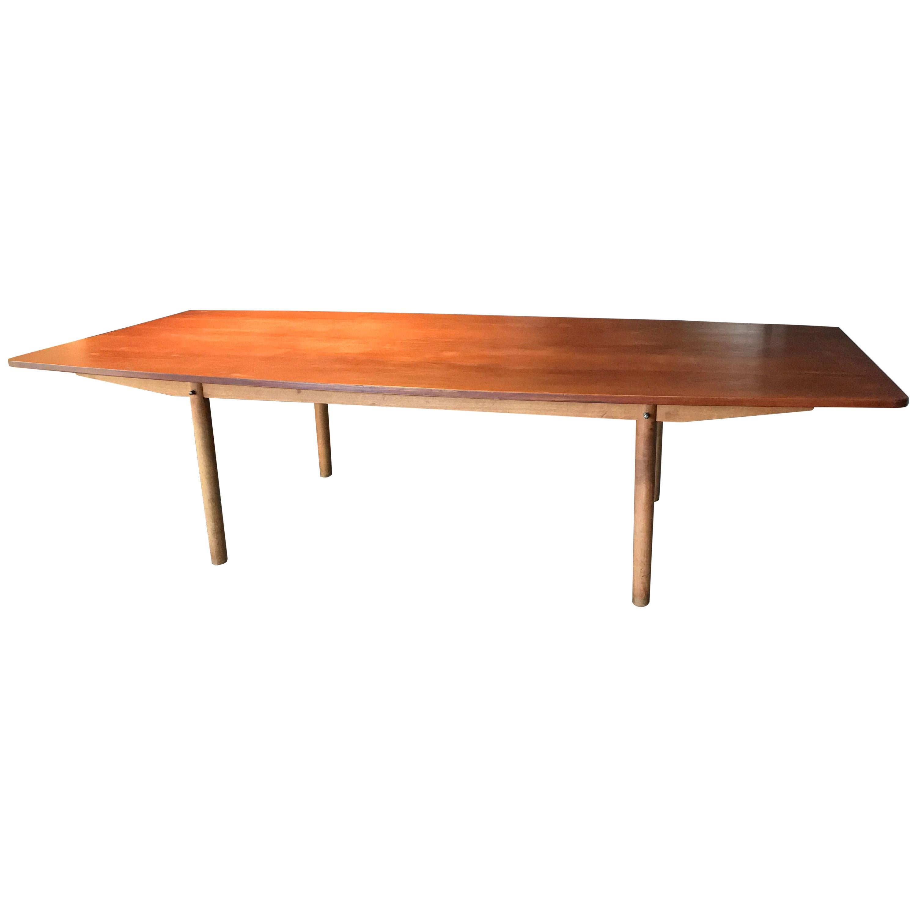 Important and Large Teak and Oak Dining or Conference Table by Hans Wegner
