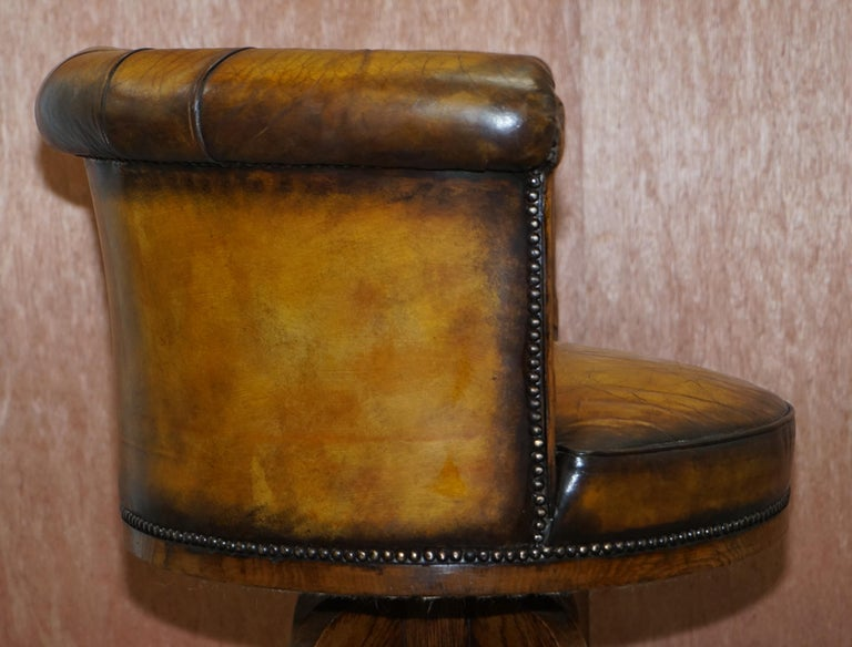 Important Antique Chesterfield circa 1860 Restored Brown Leather Captains Chair For Sale 6