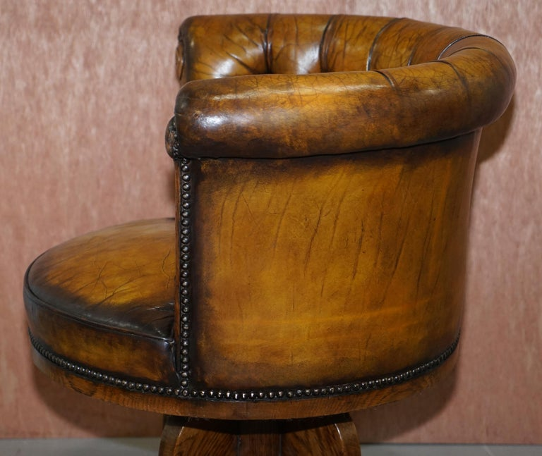 Important Antique Chesterfield circa 1860 Restored Brown Leather Captains Chair For Sale 10