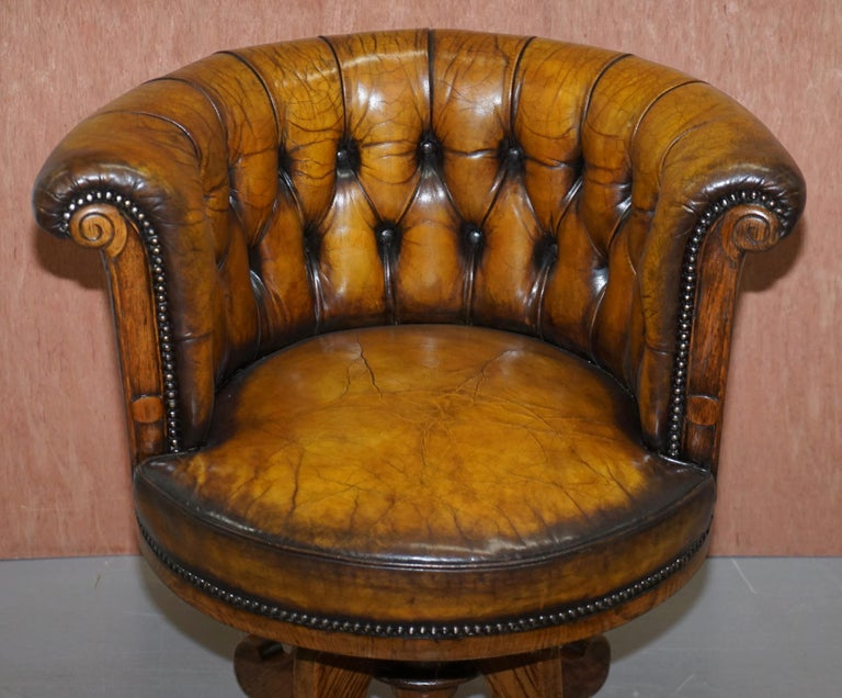 High Victorian Important Antique Chesterfield circa 1860 Restored Brown Leather Captains Chair For Sale