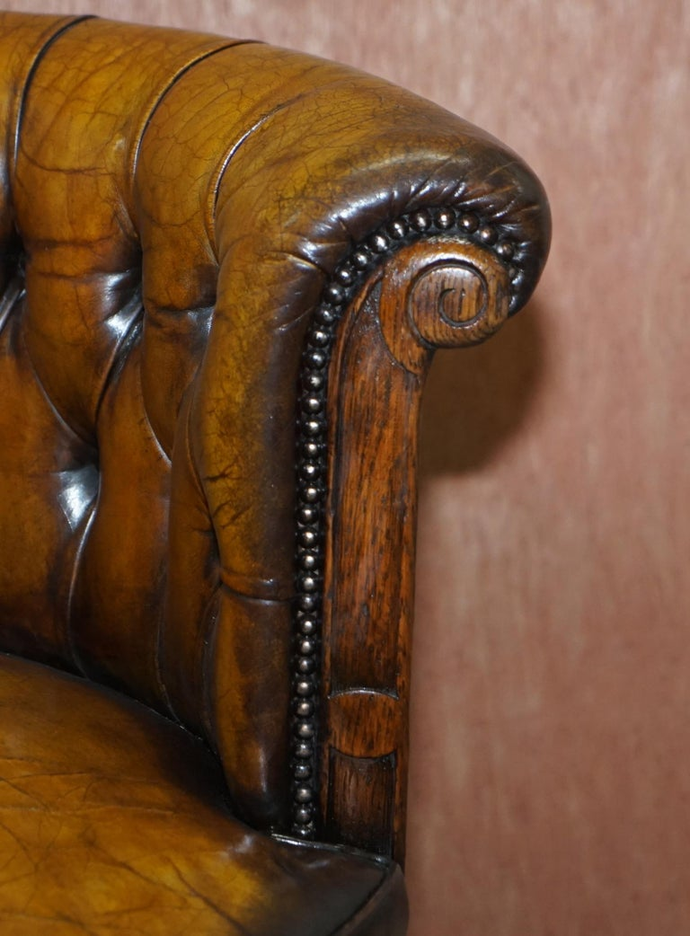 Hand-Crafted Important Antique Chesterfield circa 1860 Restored Brown Leather Captains Chair For Sale