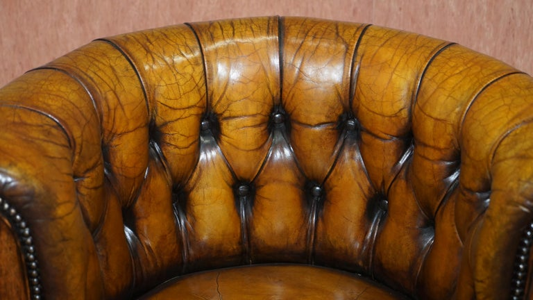 Important Antique Chesterfield circa 1860 Restored Brown Leather Captains Chair For Sale 2