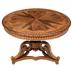 Important Antique European Parquetry Center Table