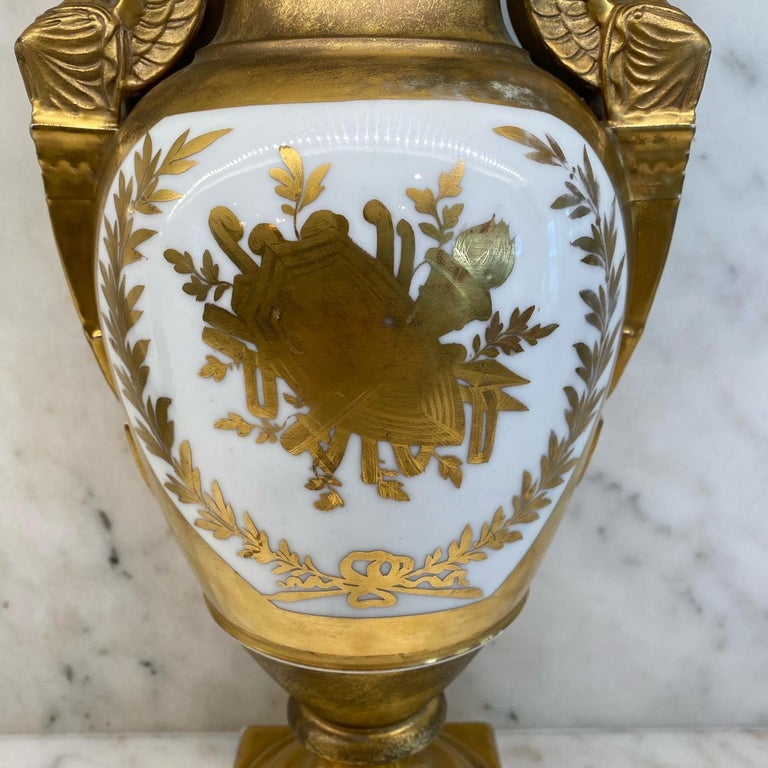19th Century Important Antique French Hand Painted Gold Gilt Vase Depicting Ships in Battle For Sale
