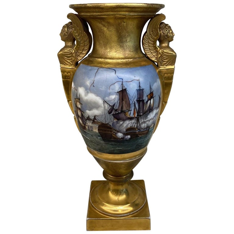 Important Antique French Hand Painted Gold Gilt Vase Depicting Ships in Battle For Sale