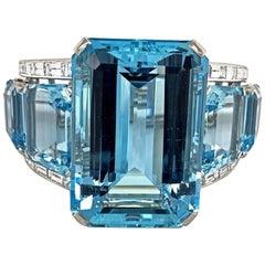 Important Aquamarine Diamond Platinum Cuff Bangle Bracelet, circa 1950