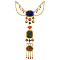 Important Archaeological Revival Gem-Set Gold Necklace