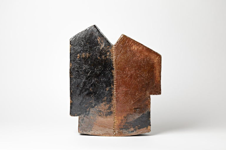 F Marechal  Important and exceptional stoneware ceramic sculpture.  Architectural form with brown and black ceramic form.  Beautiful ceramic glaze effect, realised in a fire kiln.  Realised in La Borne  Signed at the base.  Dimensions: