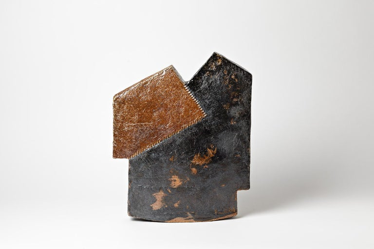 Important Architectural Ceramic Sculpture by F Marechal French Artist House Form In Excellent Condition For Sale In Neuilly-en- sancerre, FR