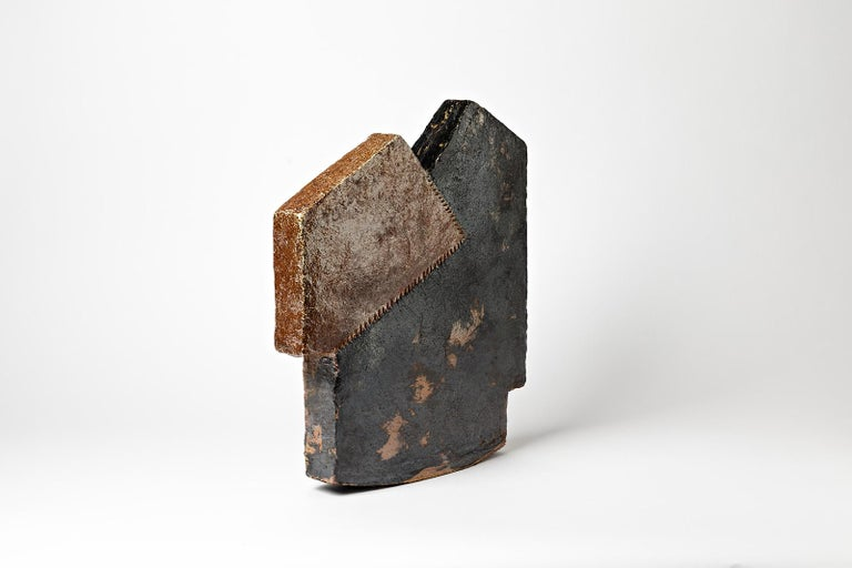 Important Architectural Ceramic Sculpture by F Marechal French Artist House Form For Sale 1